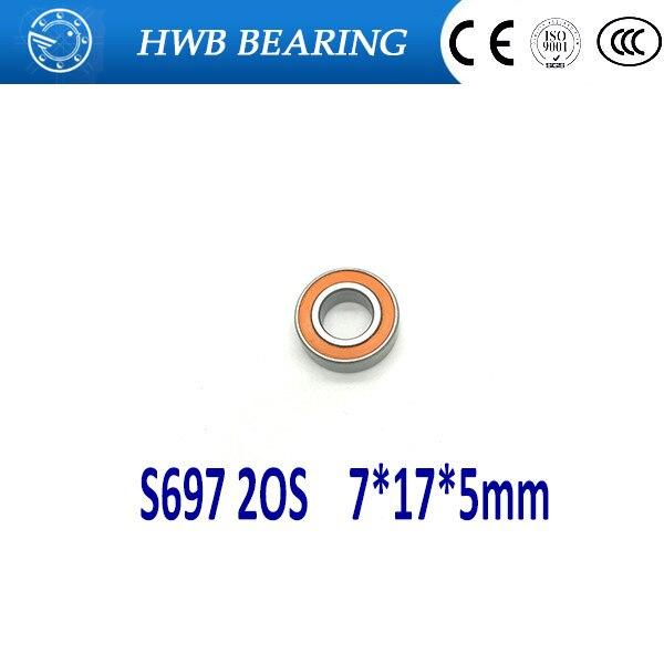 92011057 s 17 5 Free shipping 1PC 7X17X5mm  SMR697 2OS S697 2OS  CB ABEC7 Stainless Steel Hybrid Ceramic Bearings/Fishing Reel Bearings S697-2RS