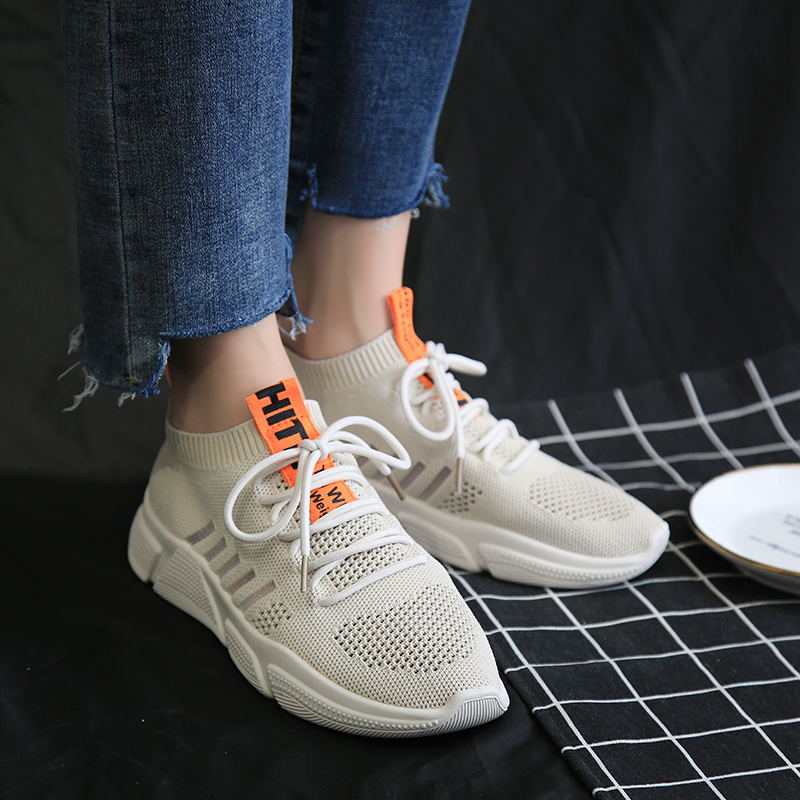 Women Sneakers knitting Shoes 2019 spring Flat Platform Ladies shoes Breathable Lightweight Thick bottom shoes in Women 39 s Vulcanize Shoes from Shoes