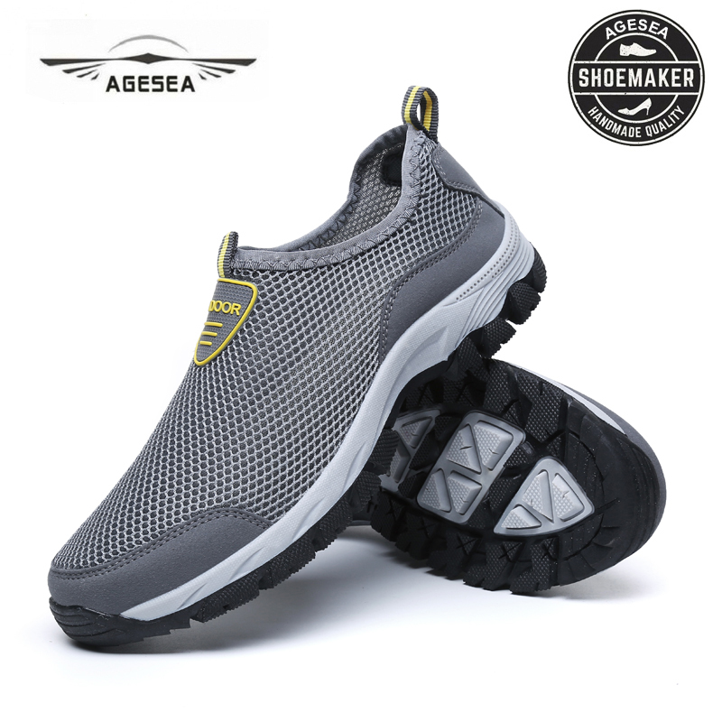 AGESEA 2018 NEW Summer fashion mens casual shoes flat breathable mesh shoes non-slip outdoor shoes large size shoes ADMX9811