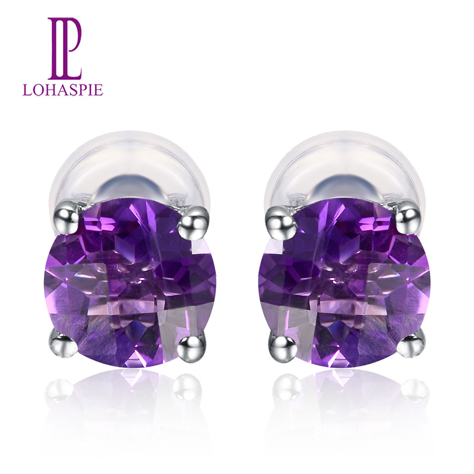 Lohaspie solid 14K white Gold 4mm/5mm/6mm Checkerboard Cutting Natural Amethyst Stud Earrings New For Women's Fine Jewelry jewlery sets vintage solid 14k white gold green amethyst diamond earrings for women fine amethyst jewelry