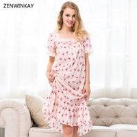 2017 Summer Short Sleeve Print Sleepwear Women Cotton Long Nightgown Plus Size Women Sleepwear Cotton Nighties