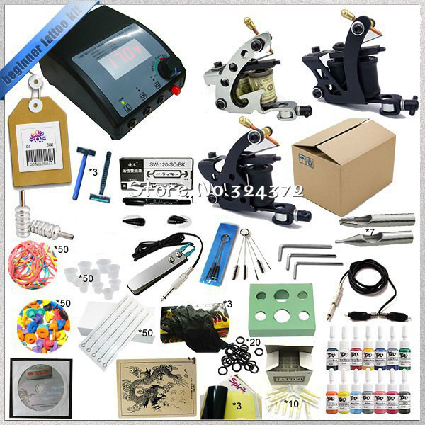 ФОТО TTKS-TK-2507 M 3 Guns Complete Tattoo Kit Equipment Sets Rotary Machine+Ink +Power Supply +Needle + CD for Beginners Body Art #T