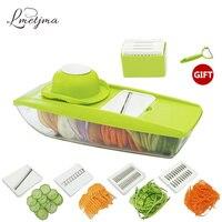 LMETJMA Mandoline Slicer Manual Vegetable Cutter With 5 Blades Multifunctional Vegetable Cutter Potato Onion Slicer LK0728E