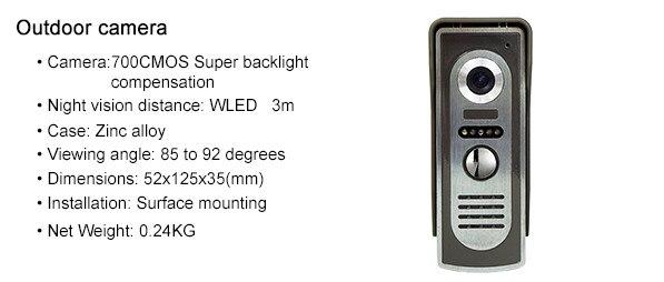 7 Inch 2V4 LCD Monitor 700TVL Zinc Alloy Water-Proof Camera Wired Intercom Video Door Phone XSL-70F-M