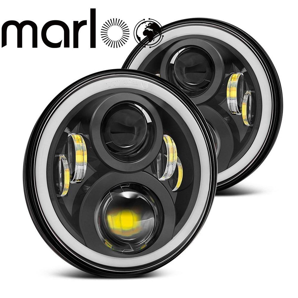 Marloo Wrangler JK TJ светодио дный фар 120 Вт 7 дюймов светодио дный фар Белый DRL Янтарный сигнала Ангельские глазки света для Jeep JK Hummer H1 H2
