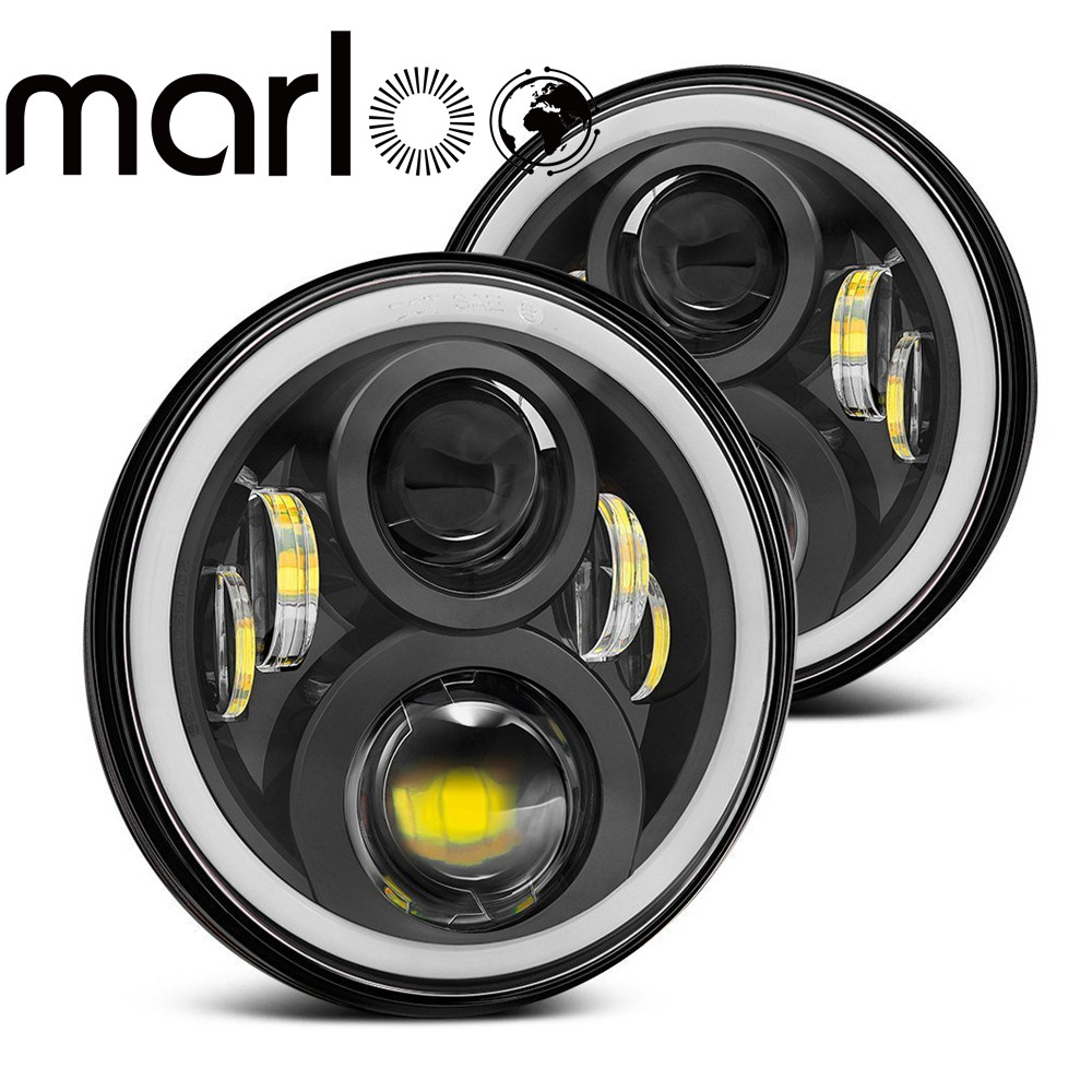 Marloo Wrangler JK TJ Led Headlight 120W 7 Inch Led Headlight White DRL Amber Signal Angel Eyes Lights For Jeep JK Hummer H1 H2 faduies 7 inch round led headlights white halo ring angel eyes amber turning signal lights for jeep wrangler jk tj cj