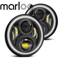 Marloo Wrangler JK TJ Led Headlight 120W 7 Inch Led Headlight White DRL Amber Signal Angel Eyes Lights For Jeep JK Hummer H1 H2