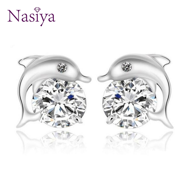 dd2c199c0b060 US $2.41 47% OFF|Dazzling Lovely Dolphin Shape Women's Earrings 925  Sterling Silver Cute Animal Shiny CZ Zircon Stud Earrings Fine Jewelry-in  Earrings ...