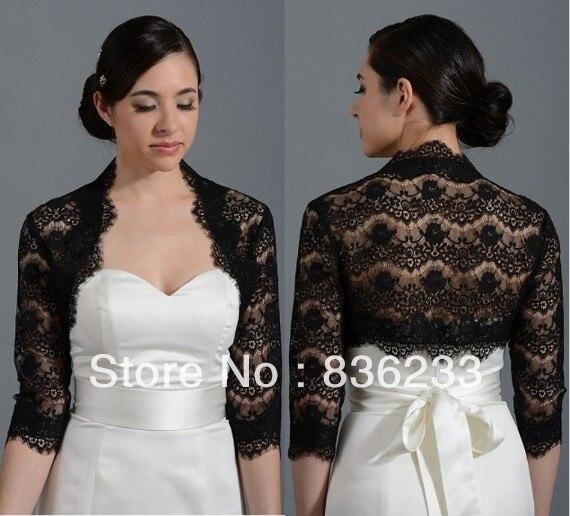 Decent Black Lace 3/4Sleeves Shrug Wrap Bridal Jacket