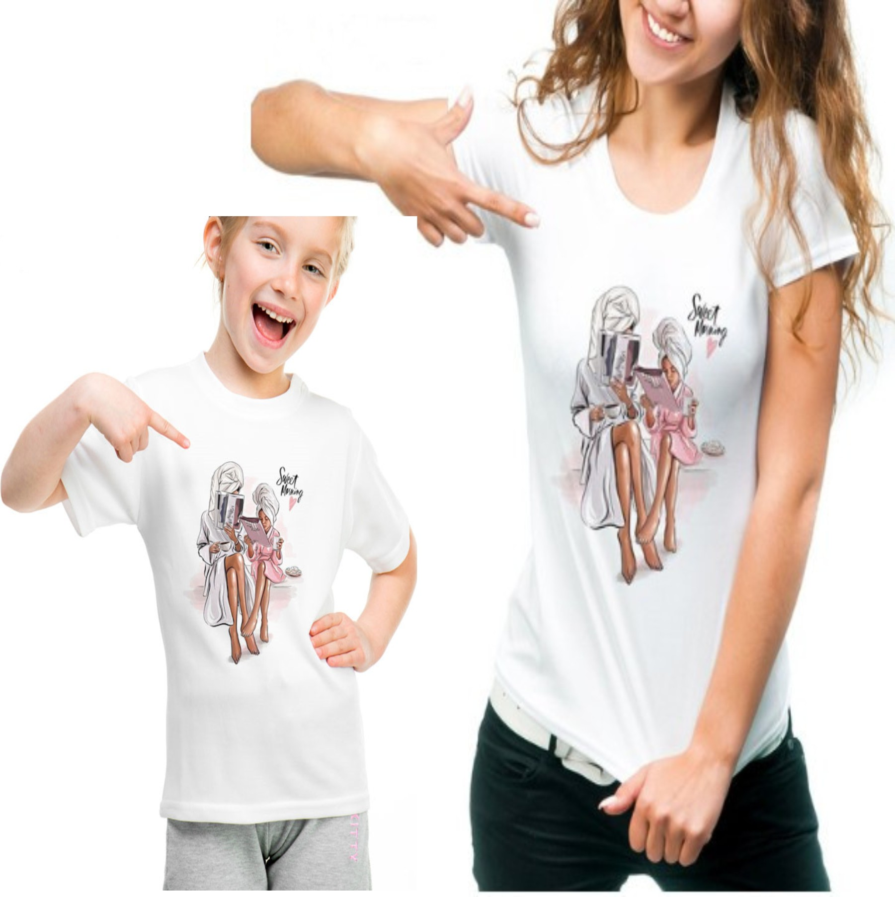Family Look Cotton Mother And Daughter Clothes Short Sleeve T Shirts KT-1923