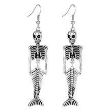 Moda quente esqueleto crânio brincos jóias por atacado antigo vintage punk brincos para presente feminino dia das bruxas balançar brincos