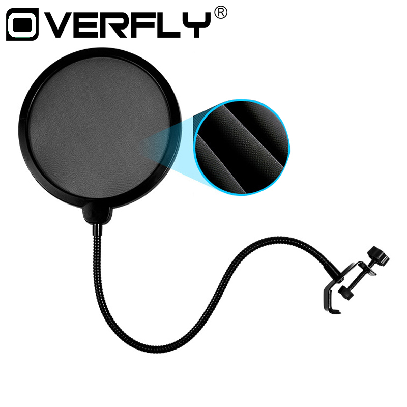 Ovefly Double Layer Studio Microphone Mic Wind Screen Pop Filter/ Swivel Mount / Mask Shied For Speaking Recording studio mini microfone professional microphone mic wind screen pop filter for koraoke video singing recording cover mask shield