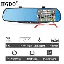 HGDO Двойной объектив зеркало заднего вида с видеорегистратором и камера 4.3 » видеорегистраторы автомобильные зеркало видеорегистратор FHD 1080 P регистратор автомобильный видеорегистратор с двумя камерами