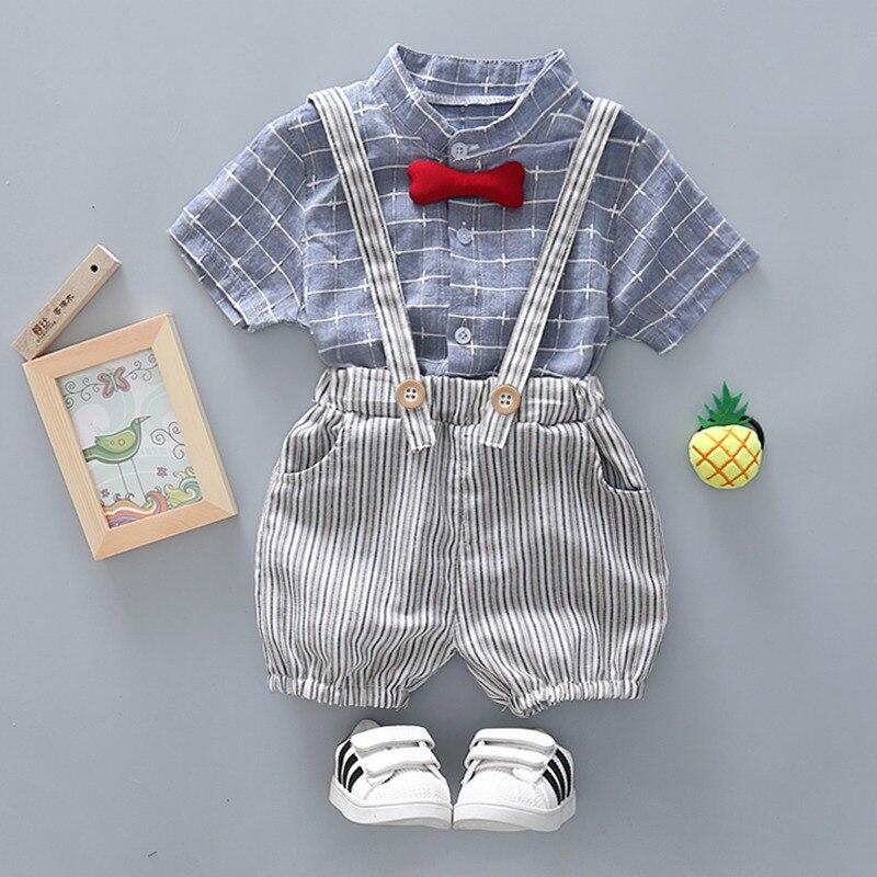 2018 Комплект одежды для маленьких мальчиков летний комплект для малышей Шорты Рубашка От 1 до 4 лет детская одежда костюмы Формальные Костюм ...