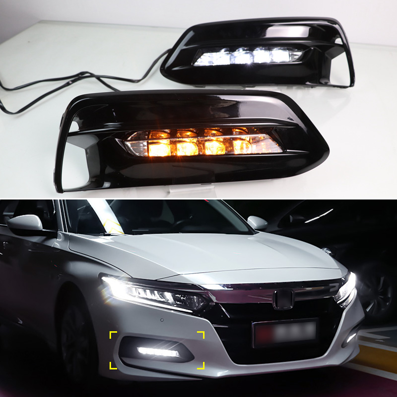 LED DRL For Honda Accord 10th 2018 2019 Daytime Running Light With Turn Signal Lamp + Blue Night Time Running Light Car Styling