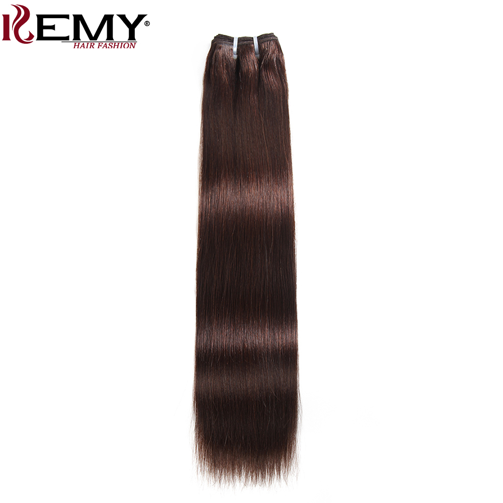 KEMY HAIR Pre-Colored Brazilian Remy Hair Weave Bundles 8 to 22 Inch 1 Piece Yaki Straight Human Hair Extensions Dark Brown 2#