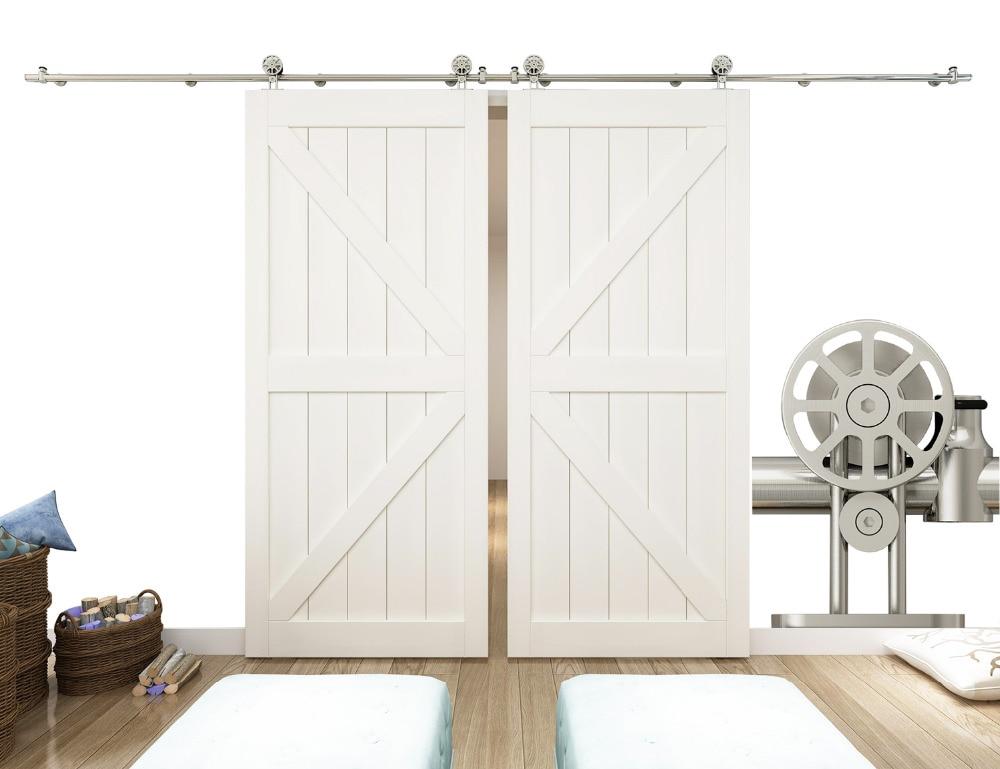 DIYHD 8ft-16ft Stainless Steel Double Sliding Barn Door Hardware Top Mount Spoke Wheel Safety Pin Barn Door Track Kit