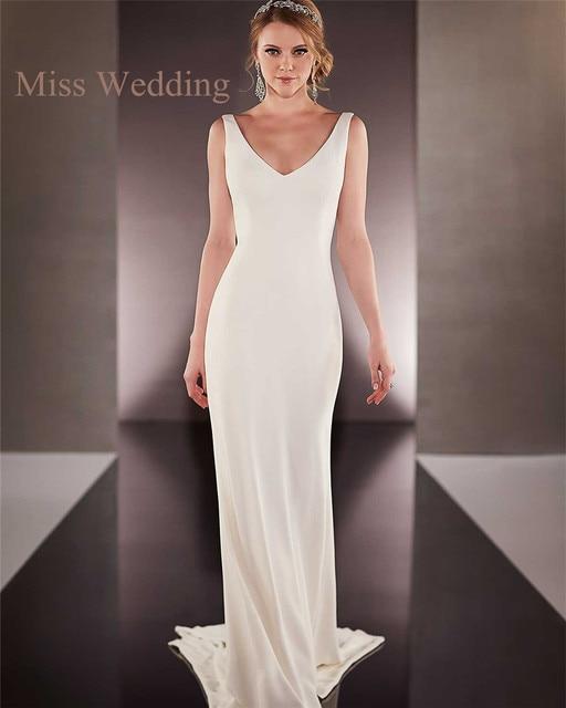 Cowl Neck Silk Sheath Wedding Gowns: Simple Sleeveless Satin Sheath Wedding Dress ML685 V Neck
