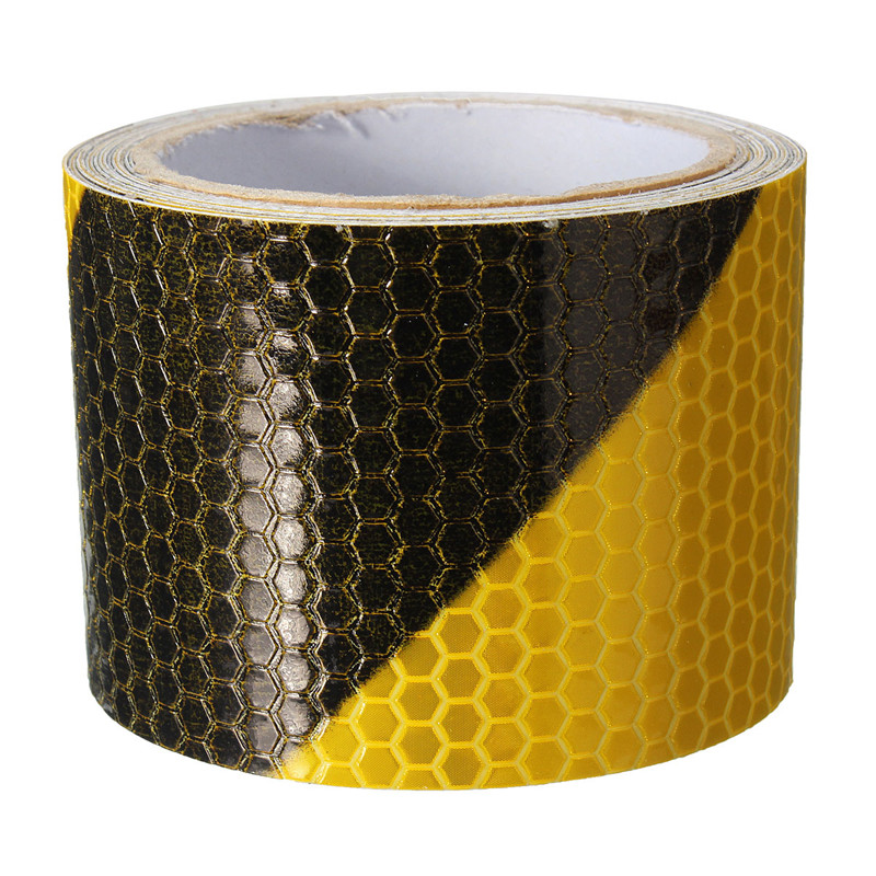 1Pcs Black Yellow Reflective Safety Warning Conspicuity Tape Film Sticker 300cm X 5cm
