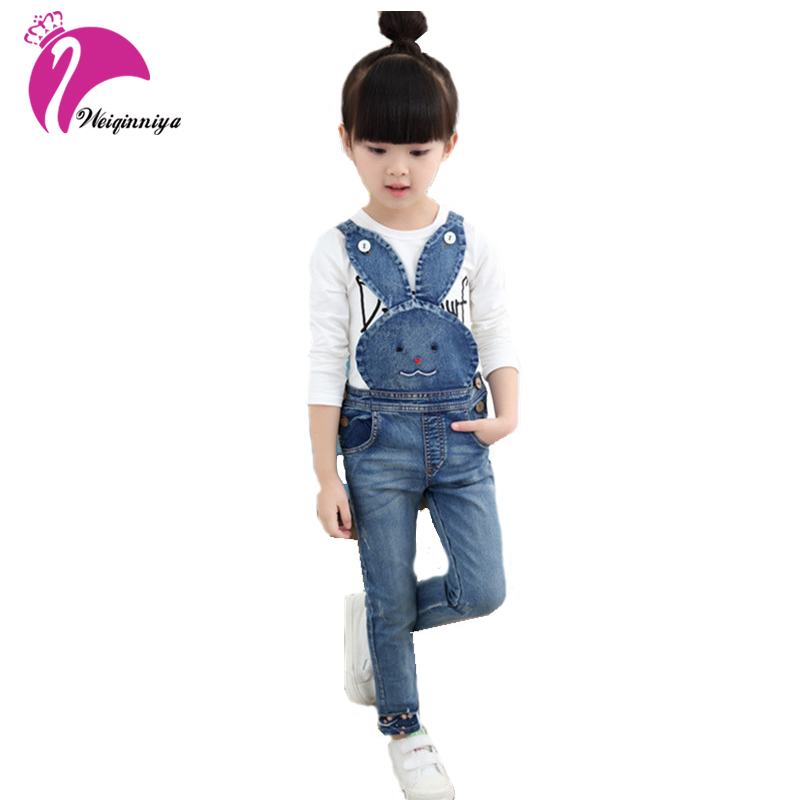 Baby Girls Overall 2017 New Brand Cute Rabbit Kids Girl Jeans Trousers Children Casual Animal Pattern High Pants Kid Clothes Hot
