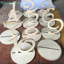 10pcs/a pack Wooden Wedding Supplies Number 1-10 Seat Brand Table Ornaments Festival Party