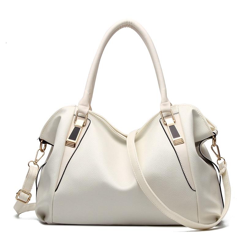 6607b555f1 BARHEE Large Capacity Women Handbag Soft PU Leather Shoulder Bag Bolsas  Fashion Solid Tote Bags Ladies Hobo Black White Pink -in Shoulder Bags from  Luggage ...