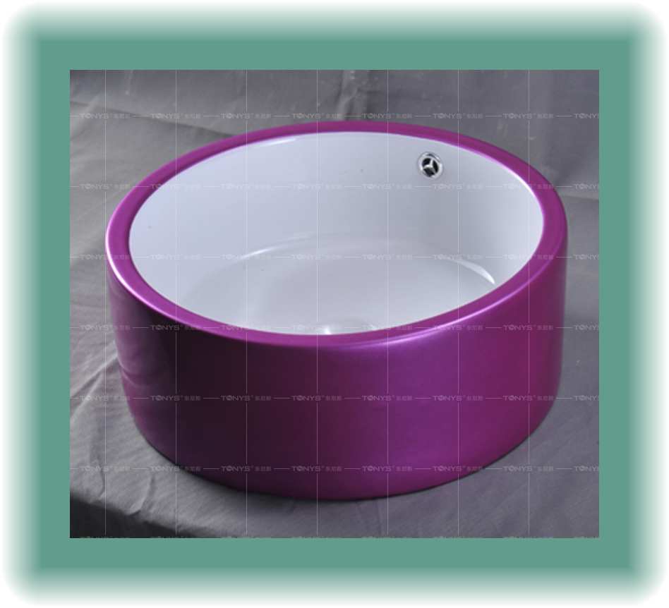 Фото Purple ceramic counter basin white art basin white wash basin quality personalized multicolour basin