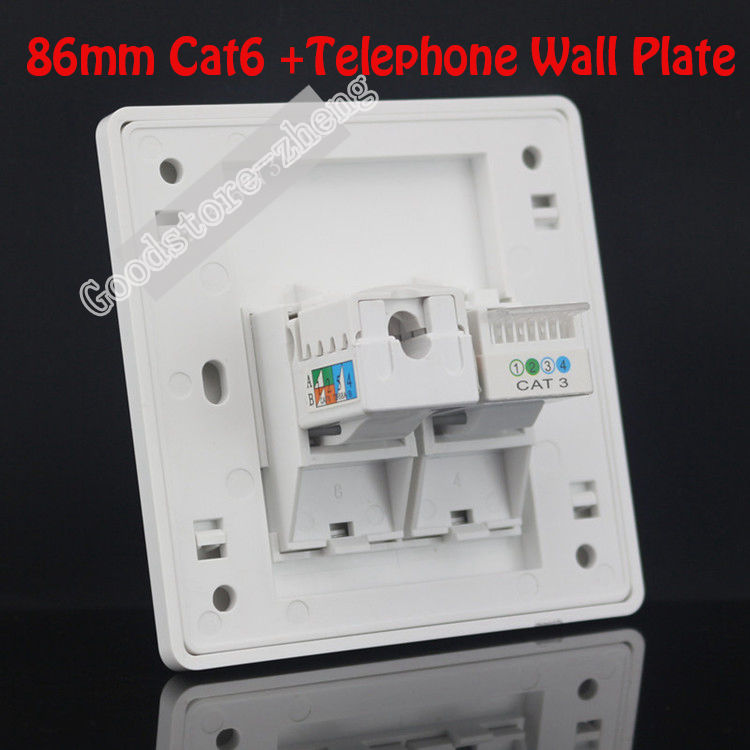 Wall Plate 2 Ports One Cat3 RJ11 Phone Telphone Socket + One Cat6 Network LAN Outlet Panel Faceplate Home Plug Wholesale Lots 86x86mm single double port rj45 thick wall plate faceplate wall mount installation with rj45 & rj11 keystone socket outlet