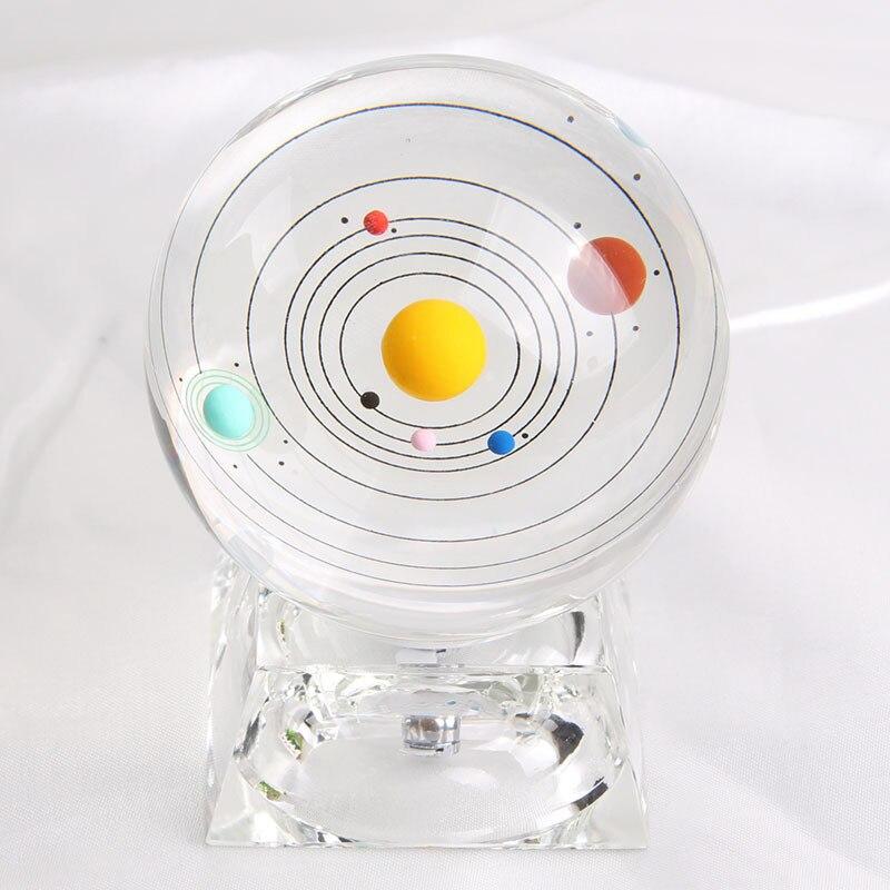 Cristal transparent système solaire boule de cristal Globe astronomique céleste huit planète boule de cristal saint valentin cadeau X1420