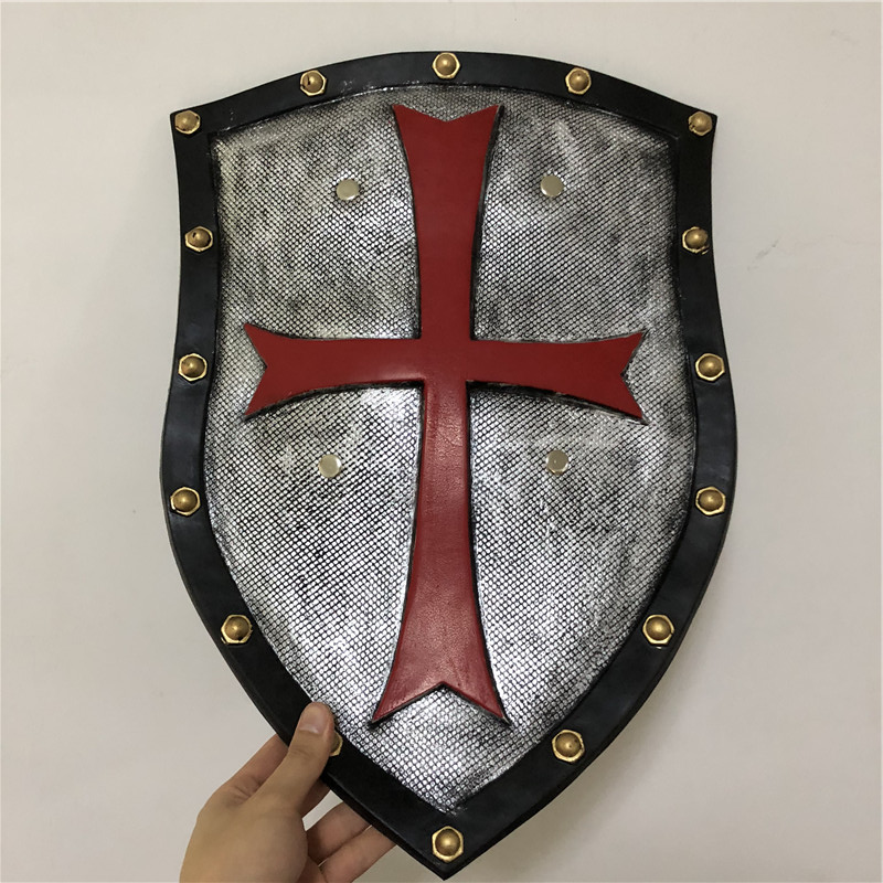 52cm Halloween Cosplay Prop Red Crusader Pope Knight Warcraft Shield 1:1 PU Weapon Movie Game Anime Cos Kids Role Play Gift PU