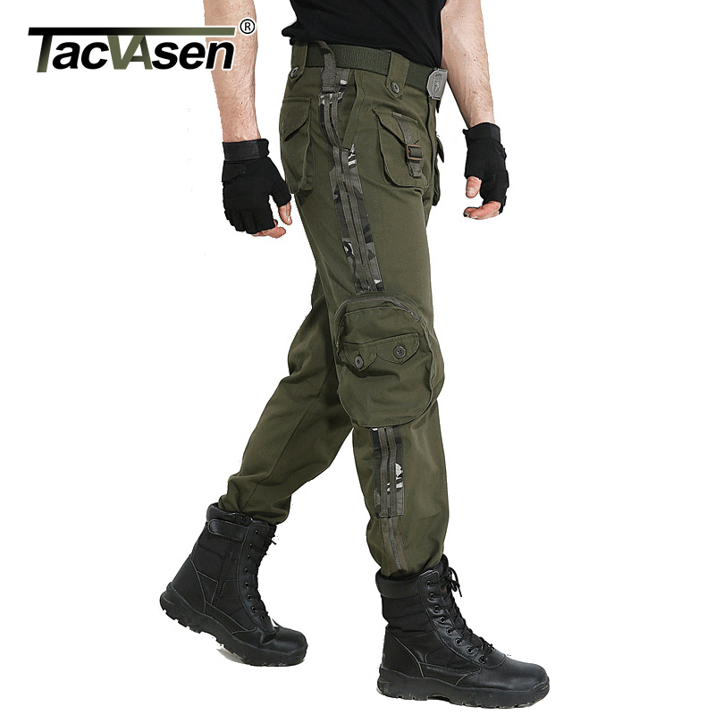 TACVASEN Men Brand Tactical Clothing Military Cargo Pants Casual Combat Army Trousers Women Camouflage Cotton Pants TD BJQS 003-in Casual Pants from Men's Clothing    1