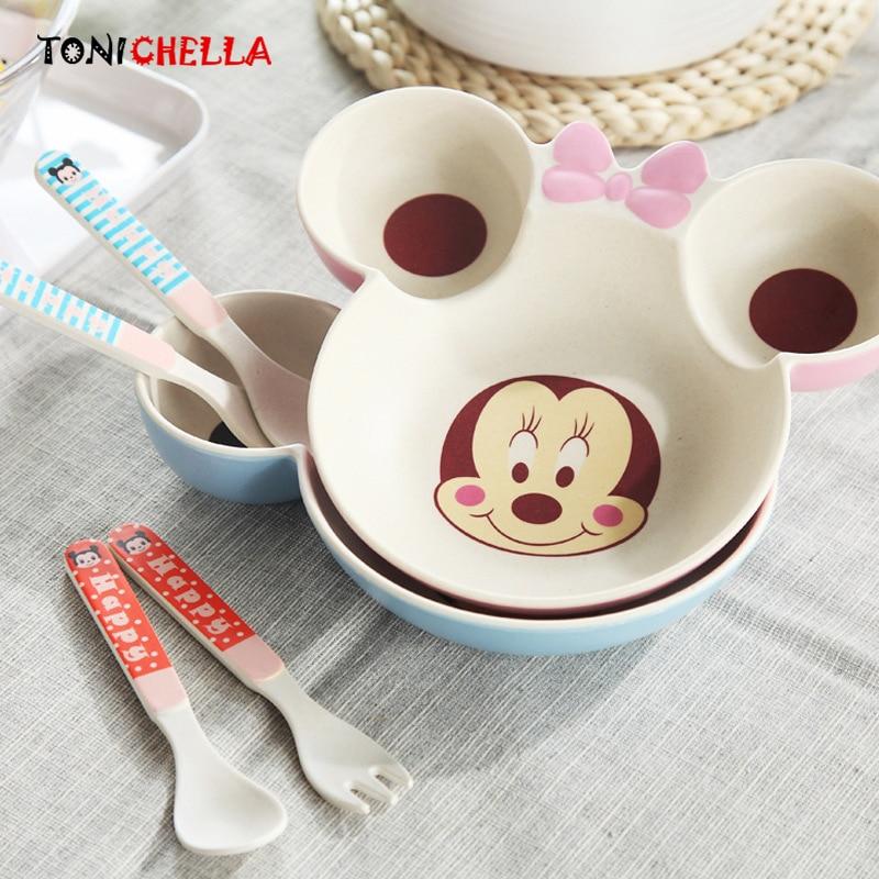 3 шт./компл. бамбуковое волокно дети посуда с Микки Маусом обучение плиты ребенка кормушки посуда детей Еда контейнер CL5325