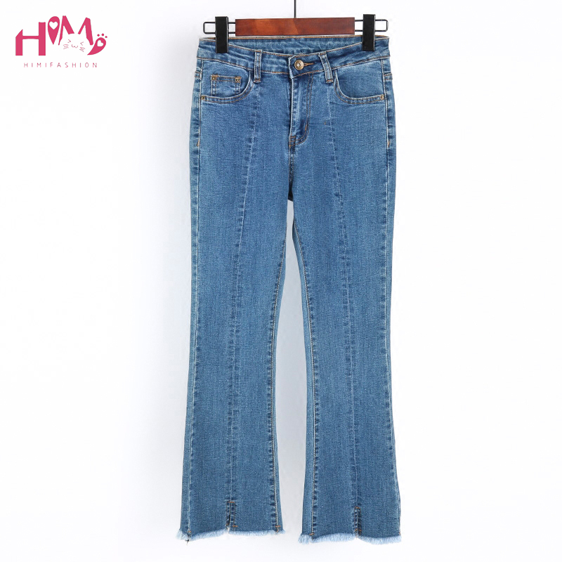 Women Mid-Rise Bootcut Flare Bell Bottom Crop Flare Jeans Pants High Waist Slim Stretch Distressed Denim Pants Plus Size Pants