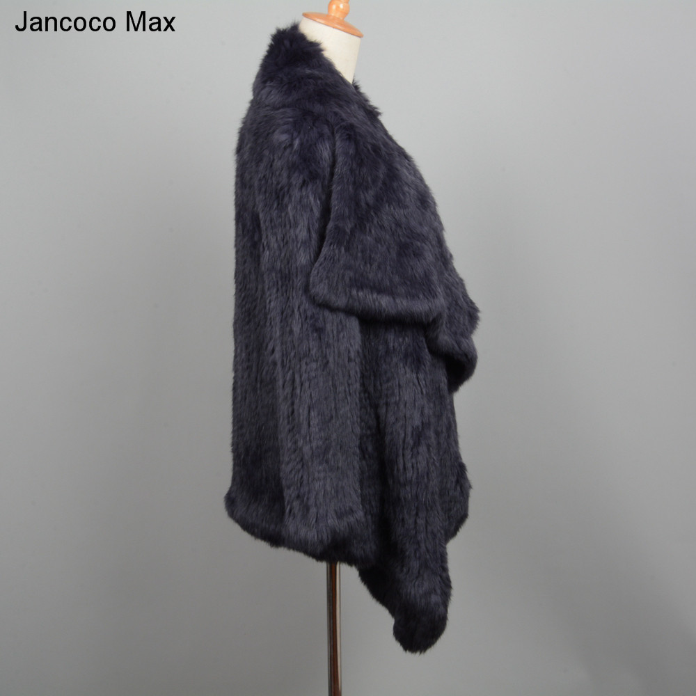 Jancoco Max Thick Knitted Soft 2019  Women Rabbit  Real Fur Coat Winter Warm Top Quality Fur Jacket Wholesale / Retail S1420
