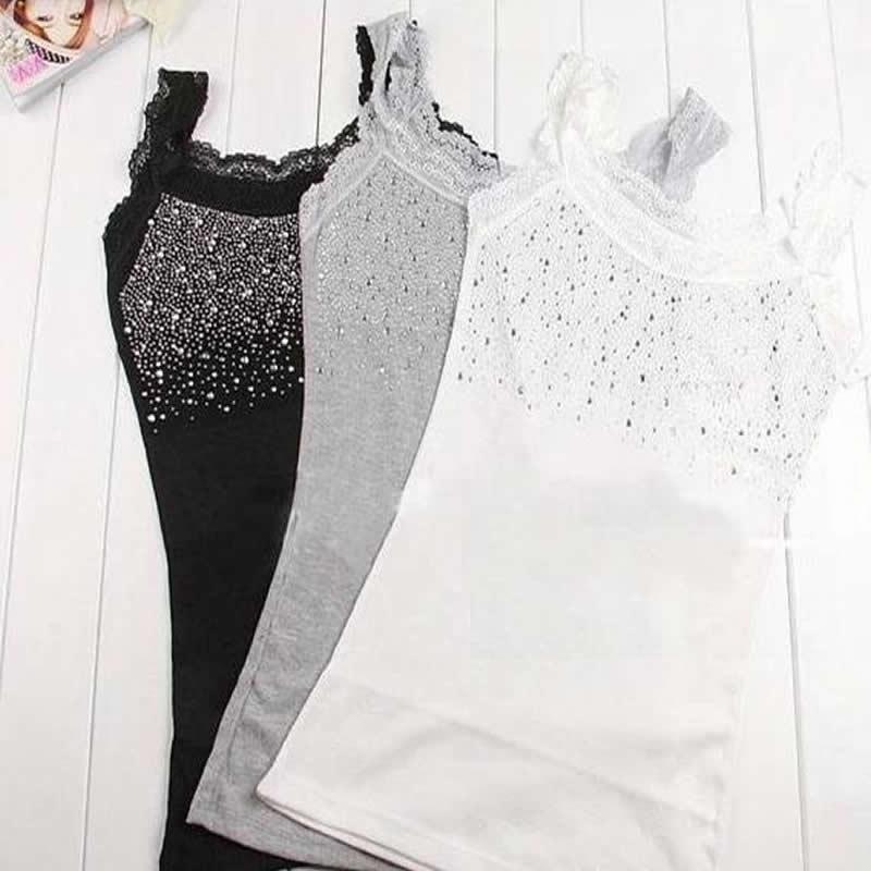 2421fb54968 US $2.86 20% OFF|Women Sexy Rhinestone Lace Stunning Based Sleeveless Vest  Tank Top Tee T Shirt Black White Gray Camisole Cami Shirt Slim-in Tank Tops  ...