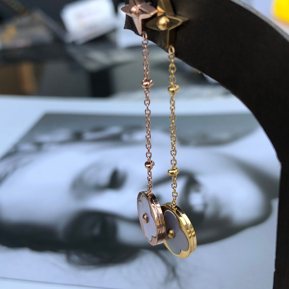 Серьги гвоздики с клевером, серьги из нержавеющей стали для женщин, модные ювелирные изделия, Корейский kpop