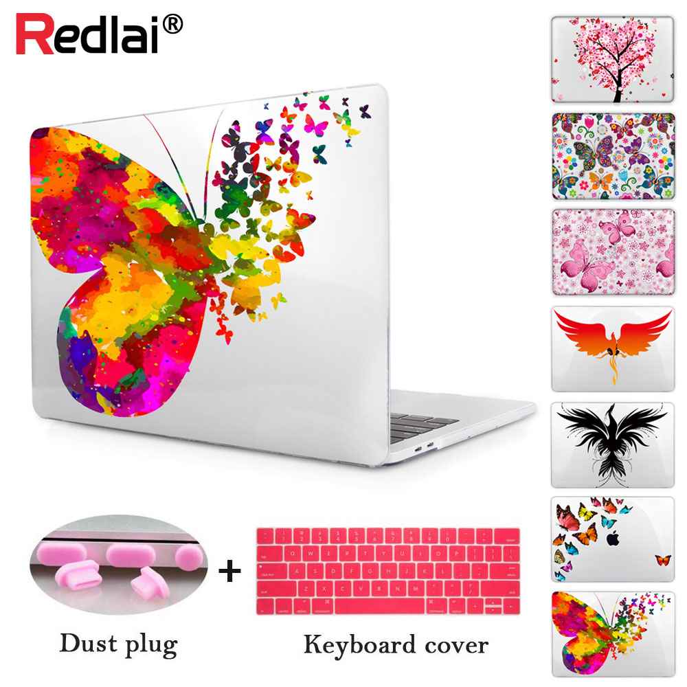 Redlai Butterfly-kristal laptoptas Print Hard Cover Case voor 2018 Release nieuwste Macbook Air 13 inch A1932 met Retina Display