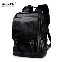 Wellvo Fashion Men Backpack Men's Backpacks for Male Solid High PU Leather Laptop Backpack Male Travel Backpacks Bagpack XA56ZC