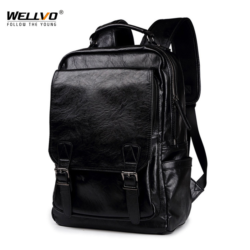 Wellvo Fashion Men Backpack Mens Backpacks for Male Solid High PU Leather Laptop Backpack Male Travel Backpacks Bagpack XA56ZCWellvo Fashion Men Backpack Mens Backpacks for Male Solid High PU Leather Laptop Backpack Male Travel Backpacks Bagpack XA56ZC
