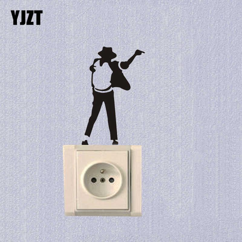 Michael Jackson Divertente Del Vinile Autoadesivo Dell'interruttore Della Parete Nero 7SS0069