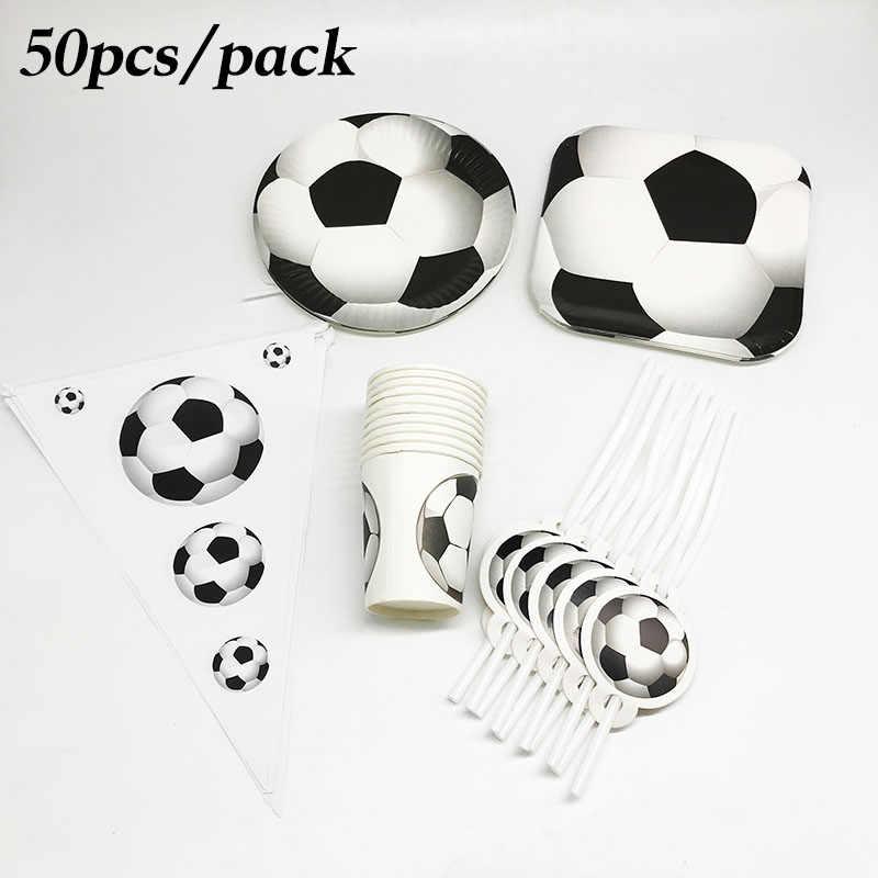 50 pcs Futebol conjuntos de Futebol copos descartáveis talheres descartáveis placas palhas bandeiras do partido decorações da festa de aniversário do futebol