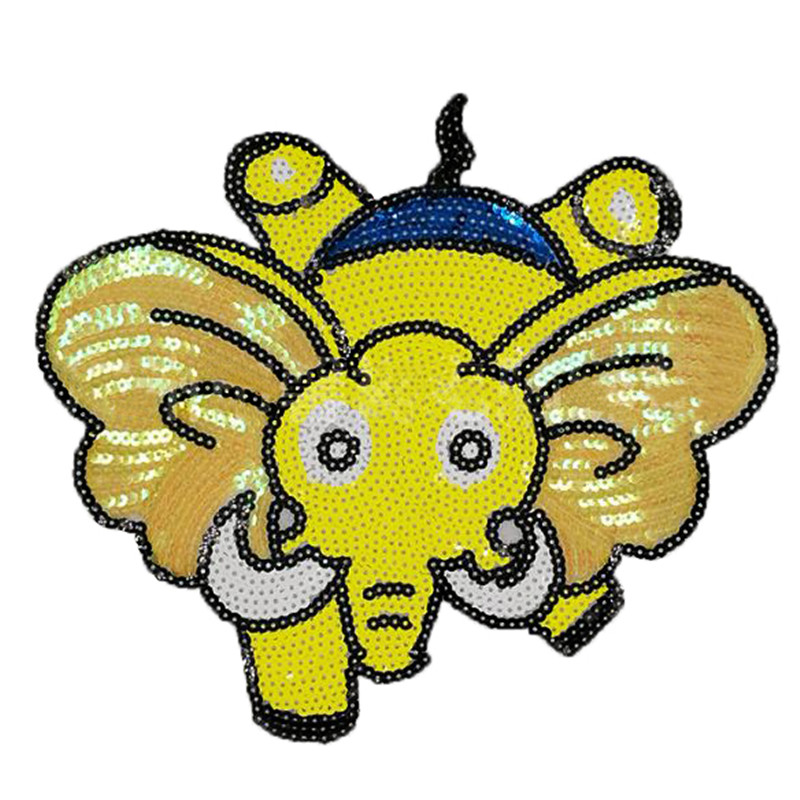245mm cute elephant patch deal with it clothes iron on patches for clothing t shirt sequins stickers halloween christmas gifts