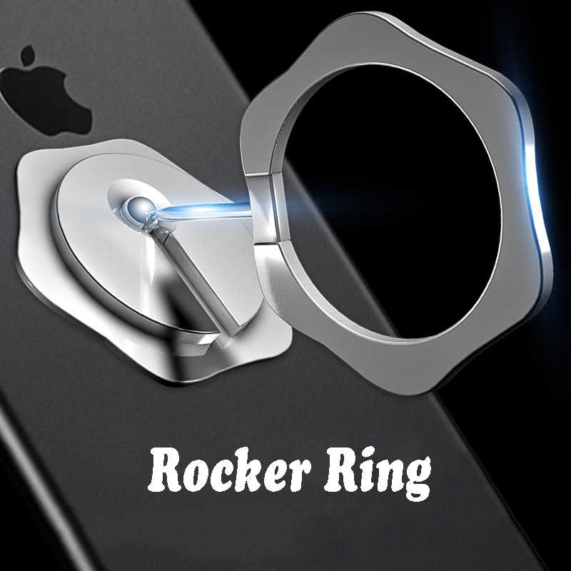 Universele Vinger Ring Holder Rocker Metallic Telefoon Ring Opvouwbare Stand 360 Draaibare Telefoon Grip Holder Matte Metalen Standaard