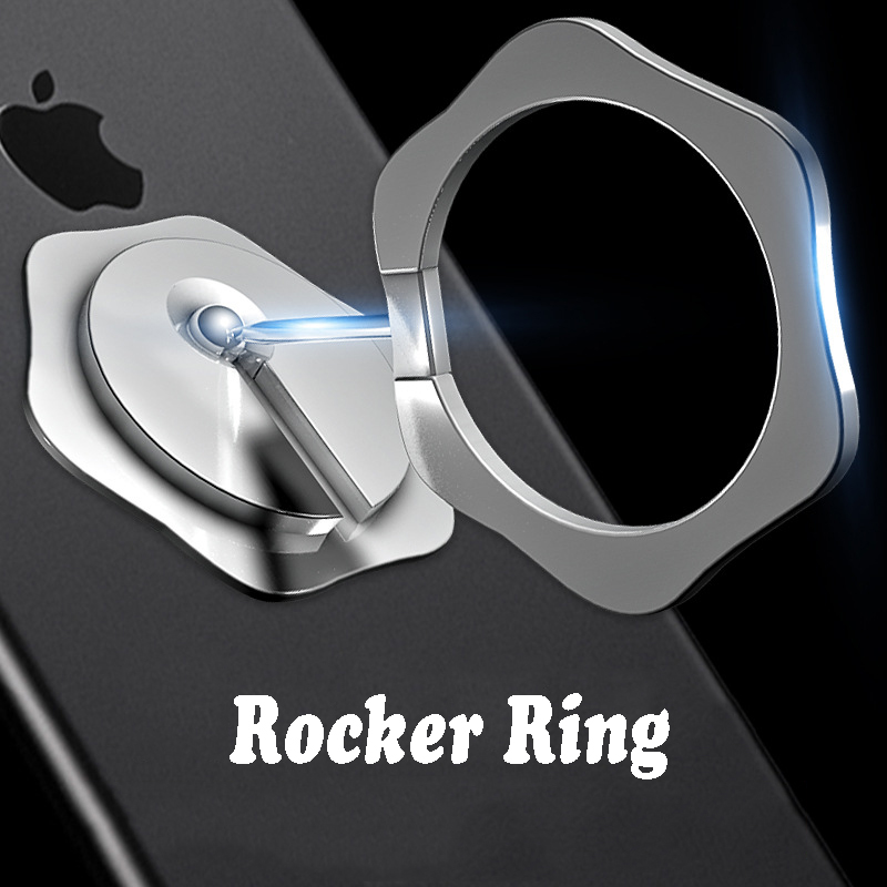 Universal Finger Ring Holder Rocker Phone Ring Magnet Foldable Stand 360 Rotatable Phone Grip Car Holder Metal Magnetic Stand