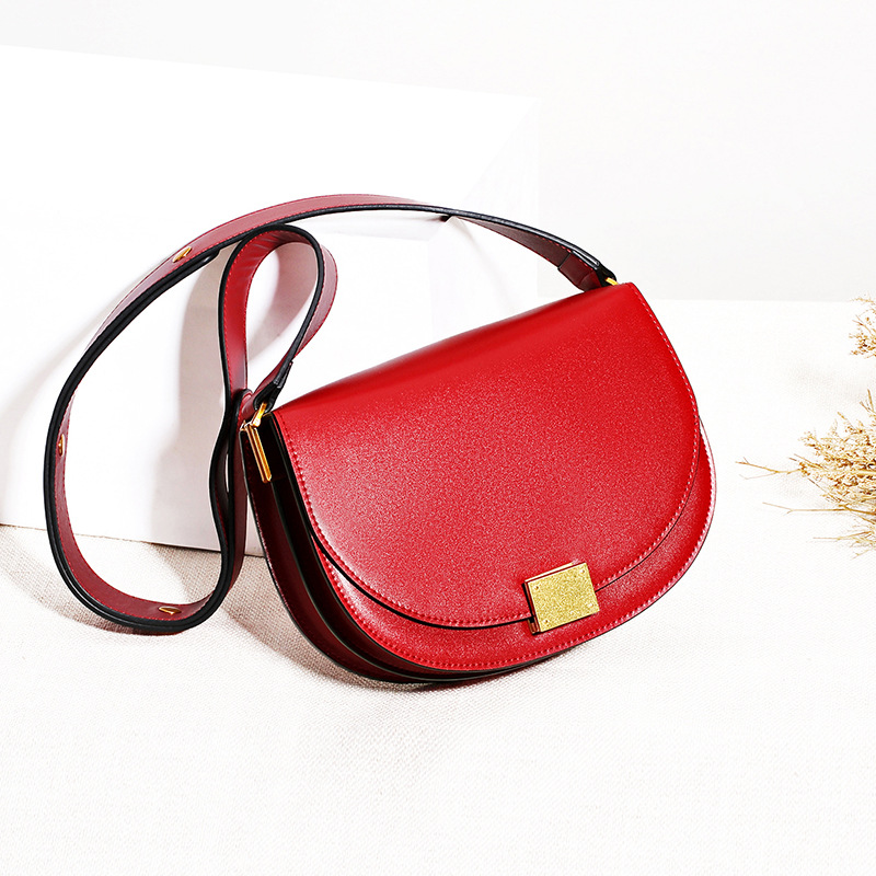 2018 Luxury Brand Design Genuine Leather Single Shoulder Bag for Women Saddle Bag Small Cover Crossbody