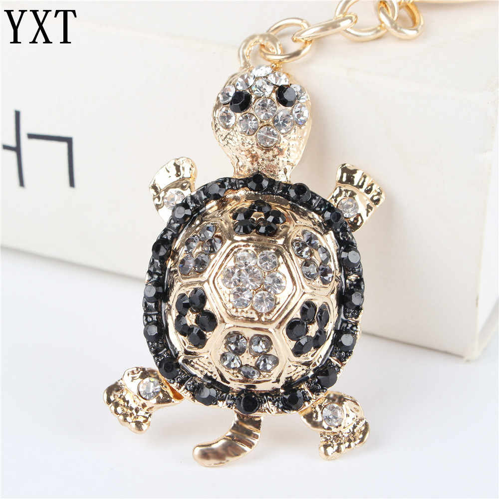 Black Tortoise Turtle Pendant Charm Rhinestone Crystal Purse Bag Keyring Key Chain Accessories Wedding Party Lover Girl New Gift