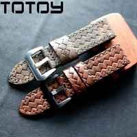 Ремешок для часов TOTOY, мягкий кожаный ремешок для часов в стиле ретро, 20 мм, 22 мм, 24 мм, для часов в стиле милитари PAM111, коричневый, красный