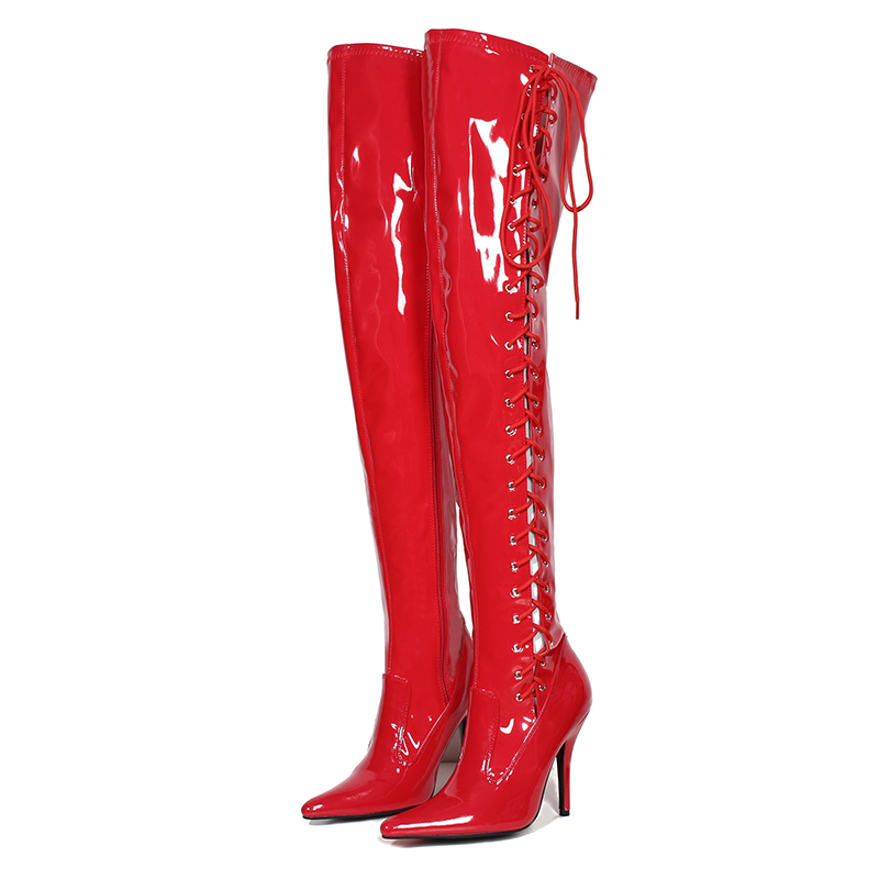 Red Thigh Long Boots 13cm High Heels Women Shoes Sexy Patent Leather Over Knee Fenty Beauty Boots Ladies Shoes Big Size 45 free shipping sm sexy patent leather queen pole dancing shoes women thigh high boots zapatos mujer boot customize big size 12cm