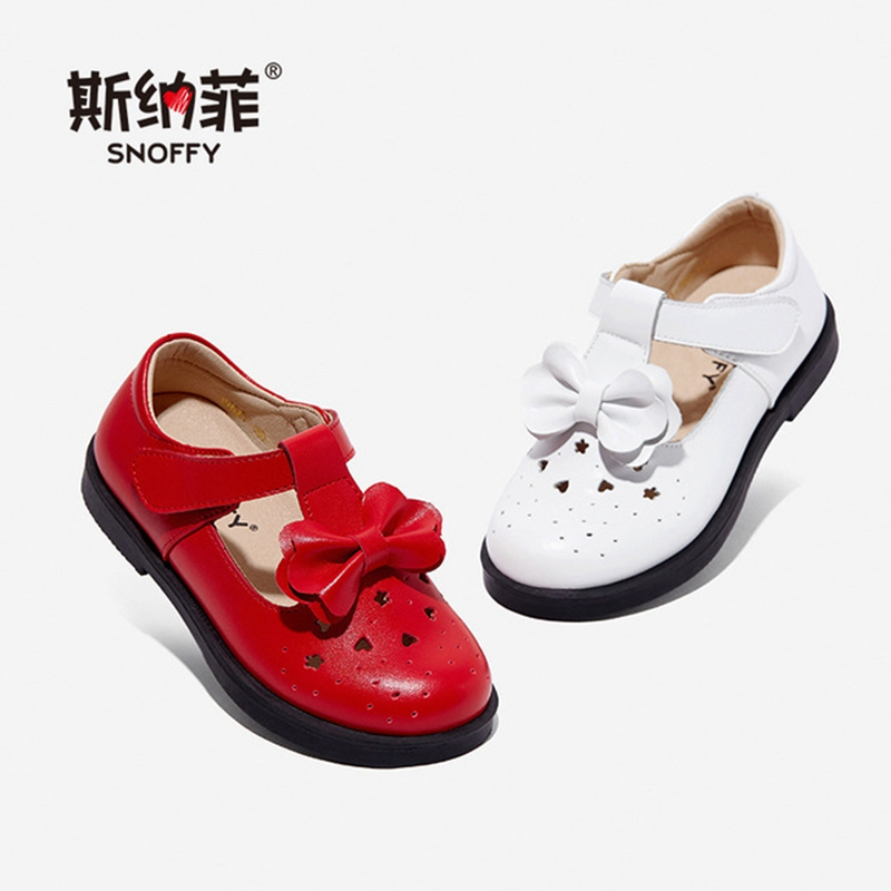 Snoffy Children Leather Shoes Genuine Leather Girls Princes Shoes Sewing Bow Spring Autumn Toddler Baby Shoes TX460