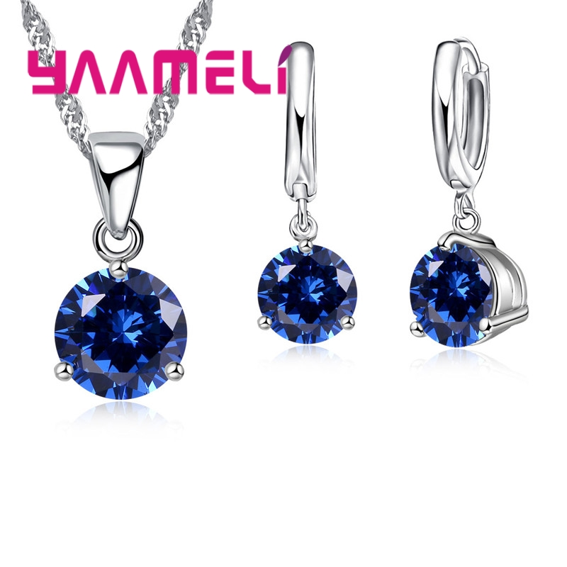 Giemi 8 Colors 925 Sterling Silver Wedding Elegant Jewelry Sets Crystal Pendant Collar Necklace Earrings Women Decoration Set